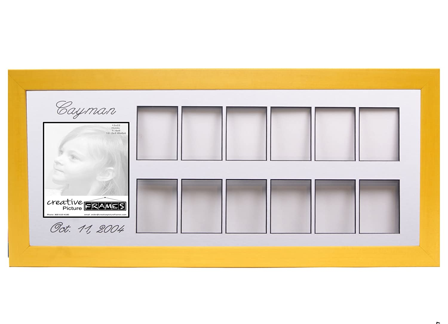 Personalized Baby's First 12 Month Timeline Collage 12 by 22-inch Candy Yellow Picture Frame w/Stand and Hanger