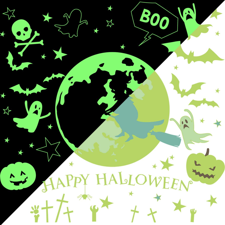 55 Pieces Halloween Luminous Decals Glow in Dark Wall Stickers Set Weird Moon Bats Ghost Pumpkin Skull Star Decorations for Halloween