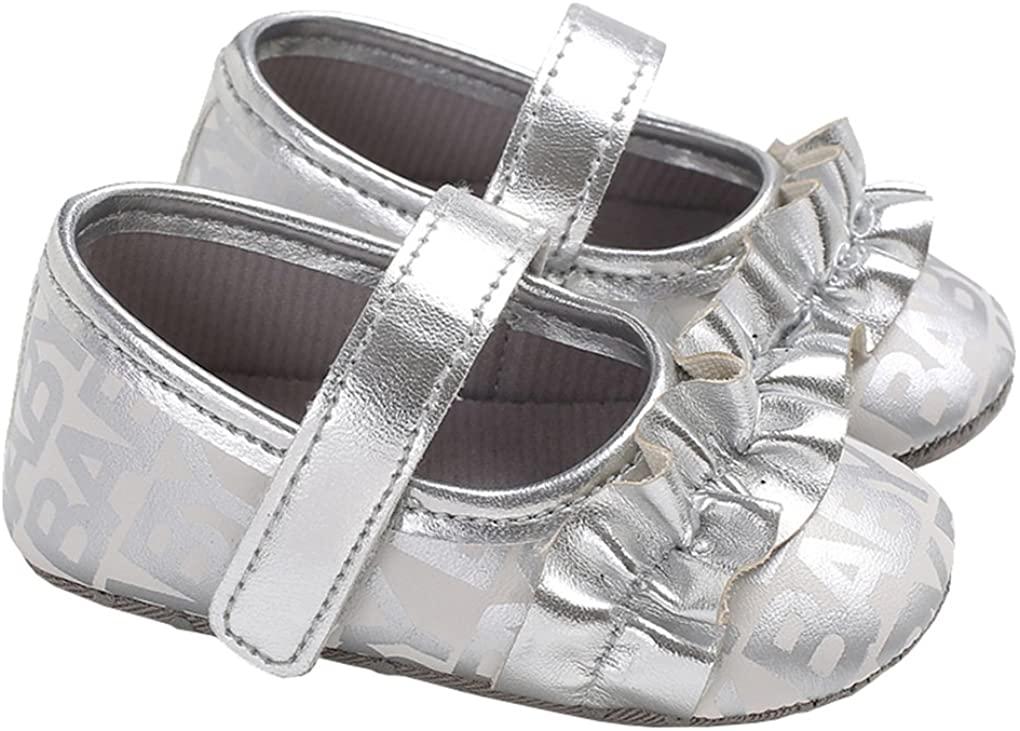 lakiolins Baby Girls Ruffled Mary Jane Flats Princess Dress Shoes Crib Shoes Crib Shoes