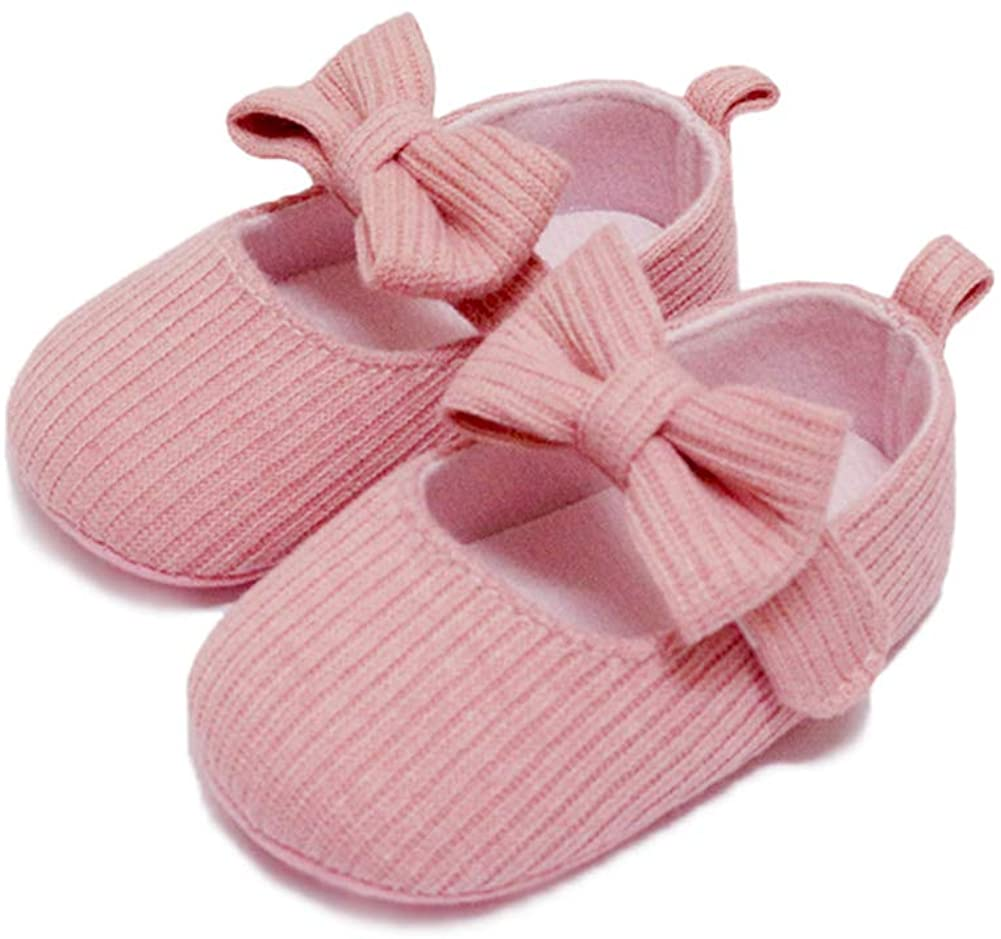 Soft Sole Baby Shoes Mary Jane Flats Bowknot Ballerina Soft Bottom Anti-Slip Prewalker Crib Shoes
