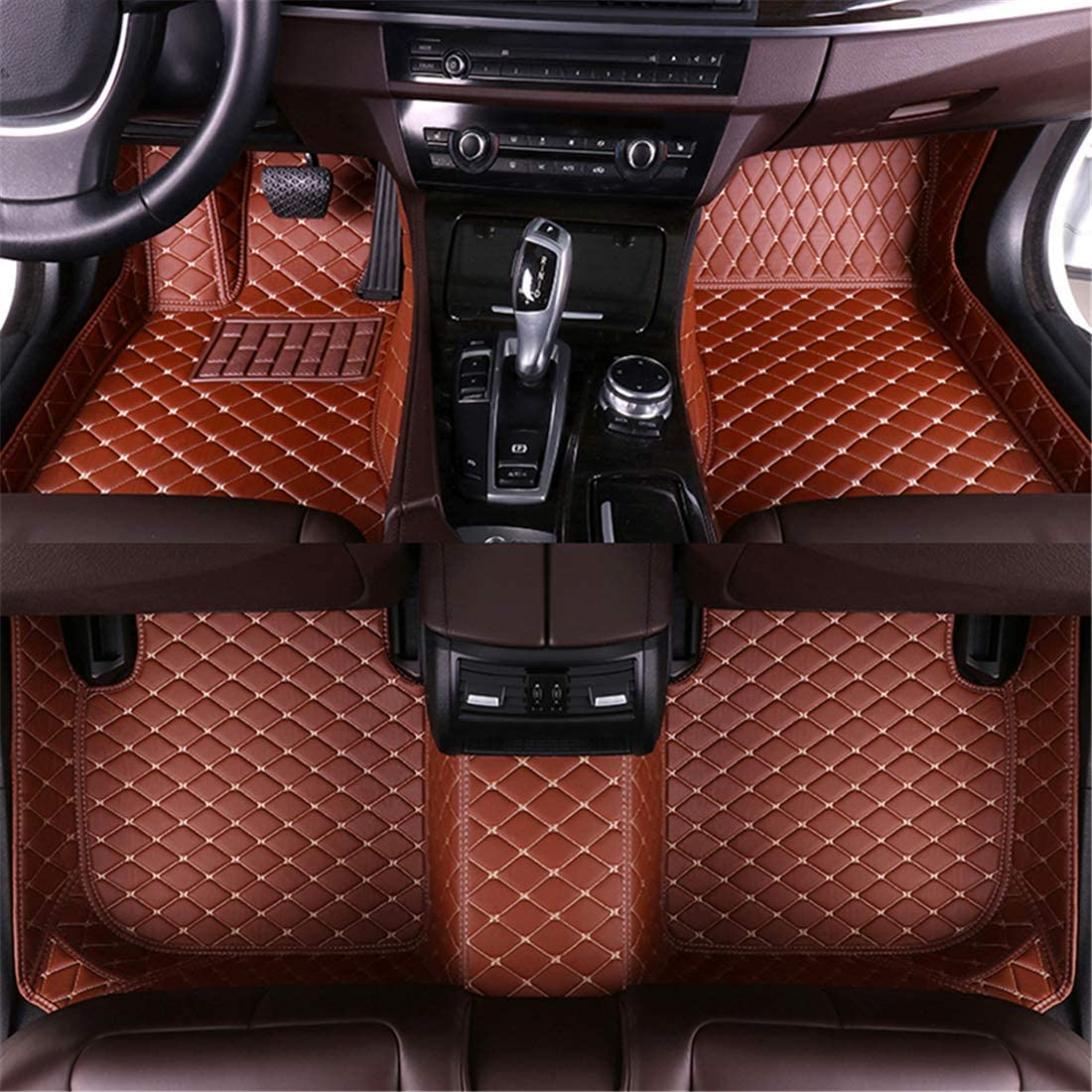 Muchkey for Dodge Leather Custom Car Floor Mats All-Weather Protection Floor Liners Waterproof Carpets Brown