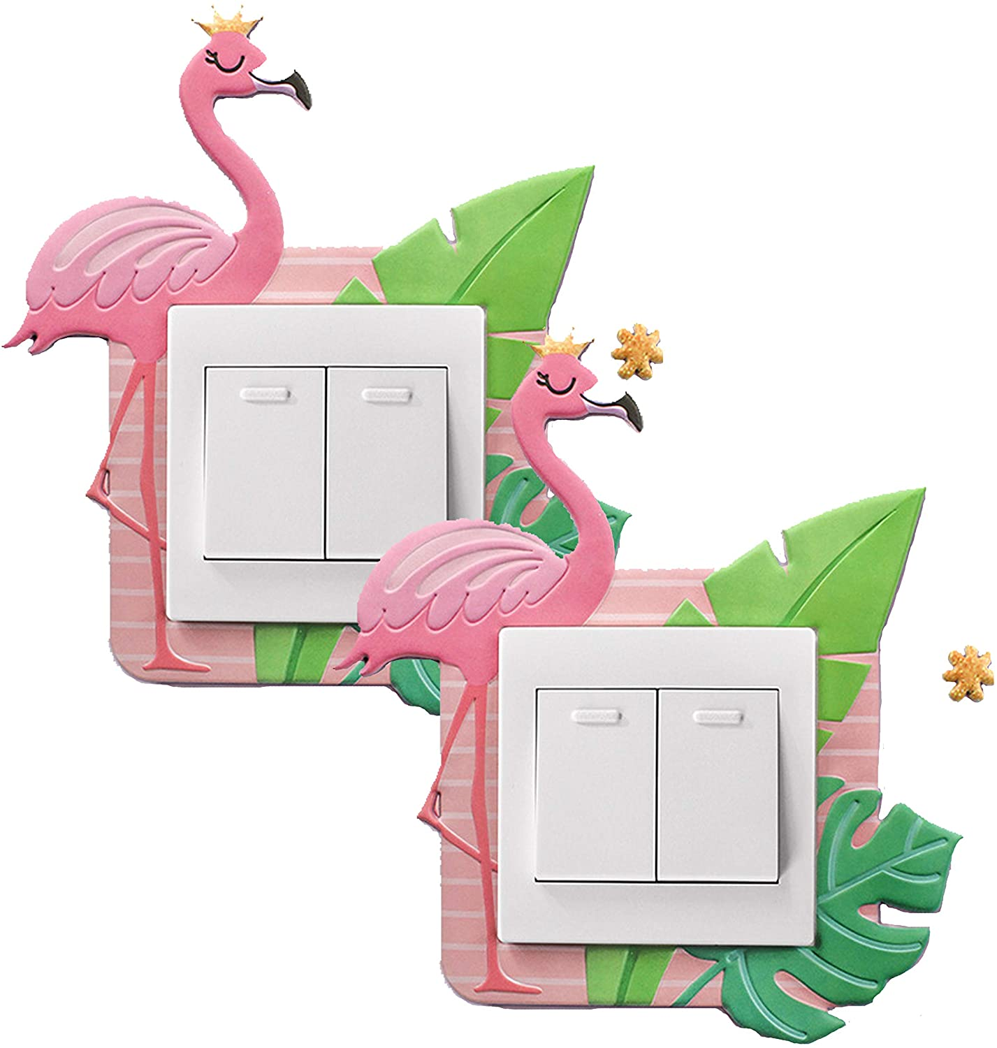 GOTONE 2PCS Unicorn Light Switch Stickers Cover Switches Kids 3D Sticker Surround for Home Room Removable, Self-Adhesive Glitter Wall Décor Gifts for Children Girls Womens Birthday Gifts