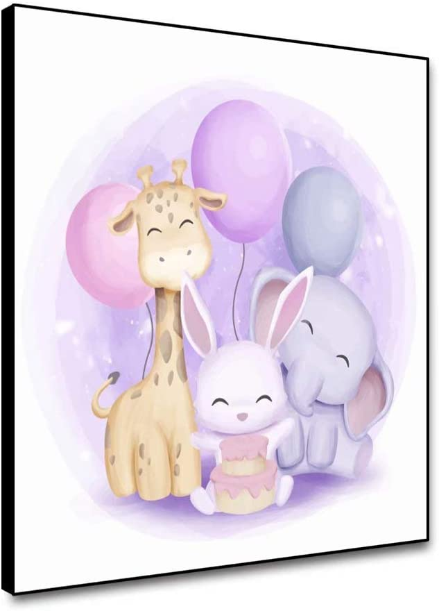 shensu Framed Canvas Cartoon Wall Art Balloon Bunny Elephant Giraffe Prints Cute Animal Posters Wall Decor for Baby Nursery Living Room Kids Room Boy Girl Bedroom Bathroom Home Decor 16x16inch