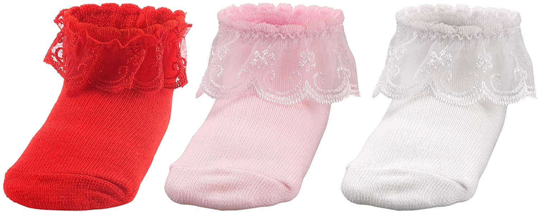 Dicry Baby Girls Christening Socks Newborn Infant Ruffled Eyelet Lace Socks
