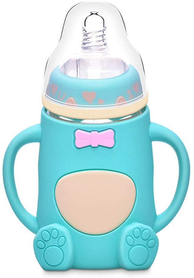AutumnFall Baby Bottles Infant Cute Feeding Glass Bottle Safe Silicone Milk Bottle with Handle