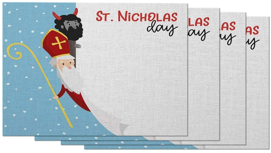 Moslion Saint Nicholas Day Placemats Devil Falling Snow Christmas Banner Celebration Tradition Table Placemats for Dinning Table Washable Cotton Linen 12x18 Inch, Set of 4