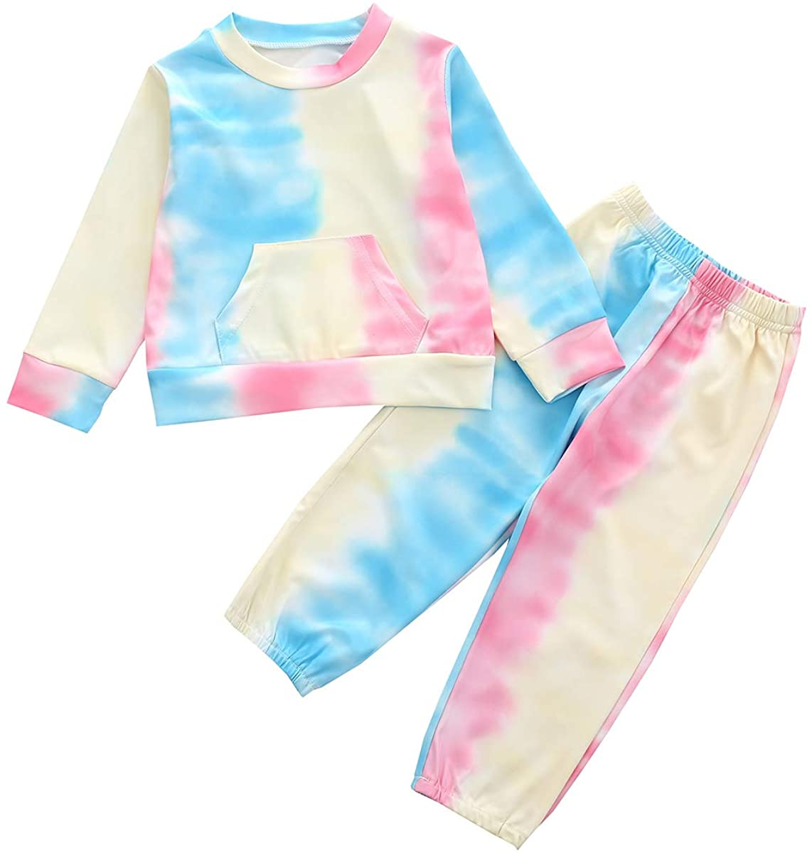 Toddler Baby Girl Tie Dye Clothes Long Sleeve Sweatshirt Tops Pants 2Pcs Tracksuit Outfit Set
