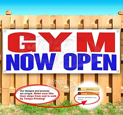 Gym Now Open 13 oz Heavy Duty Vinyl Banner Sign with Metal Grommets, New, Store, Advertising, Flag, (Many Sizes Available)