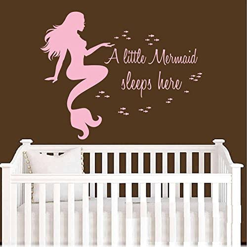 BATTOO Mermaid Wall Decals Quote- A Little Mermaid Sleeps Here- Vinyl Decal Sticker Home Interior Design Baby Girl Nursery Room Bedding Decor(Soft Pink, 34 WX27 H)