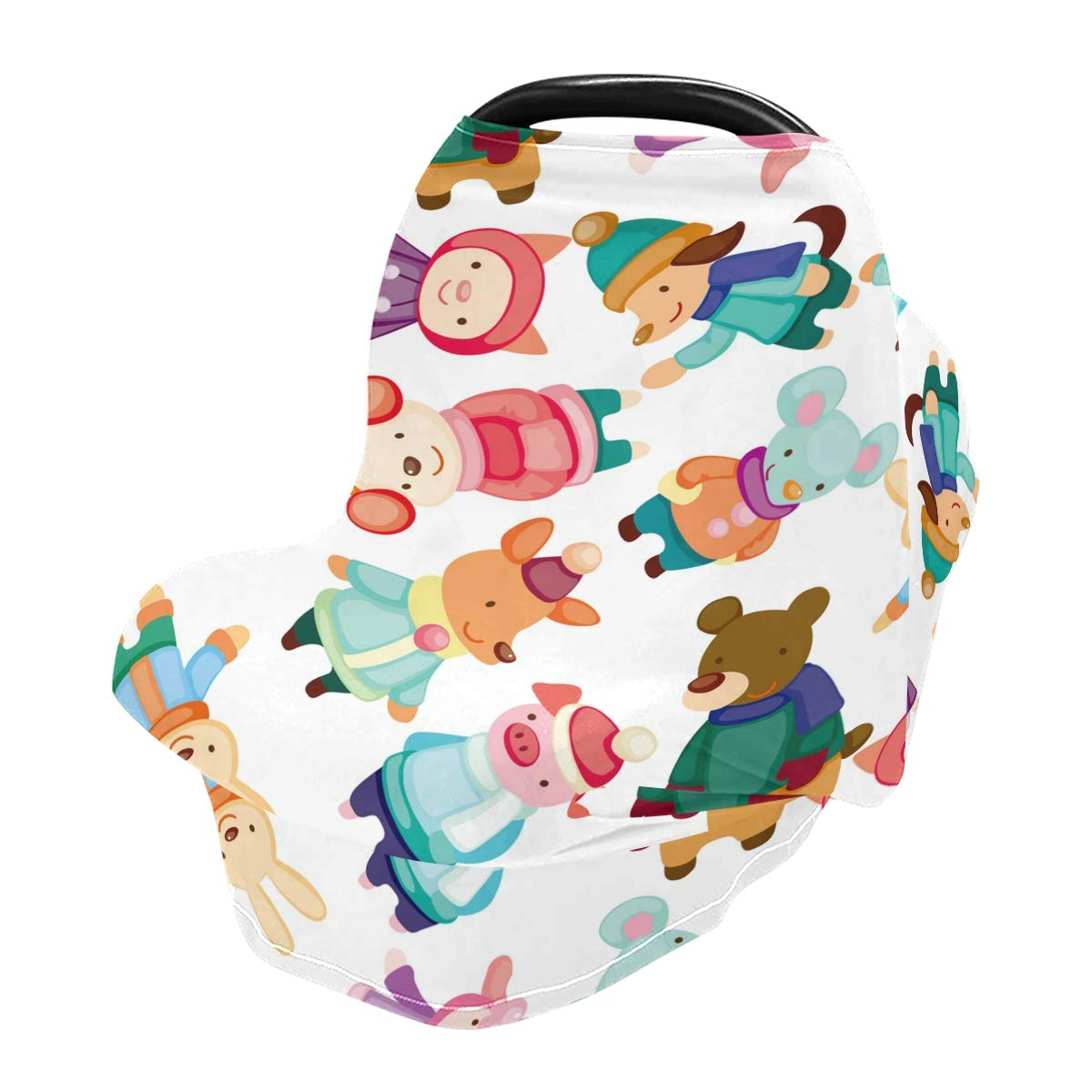 Nursing Cover Breastfeeding Scarf Cartoon Winter Animals - Baby Car Seat Covers, Infant Stroller Cover, Carseat Canopy for Girls Band Boys(902i)