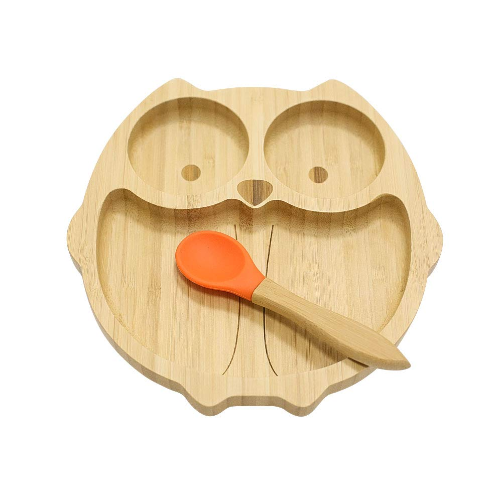 Homevibes Owl Bamboo Baby Suction Plate and Spoon Set,Natural Bamboo Toddler Feeding Training Plate with 7 Colors (Orange)