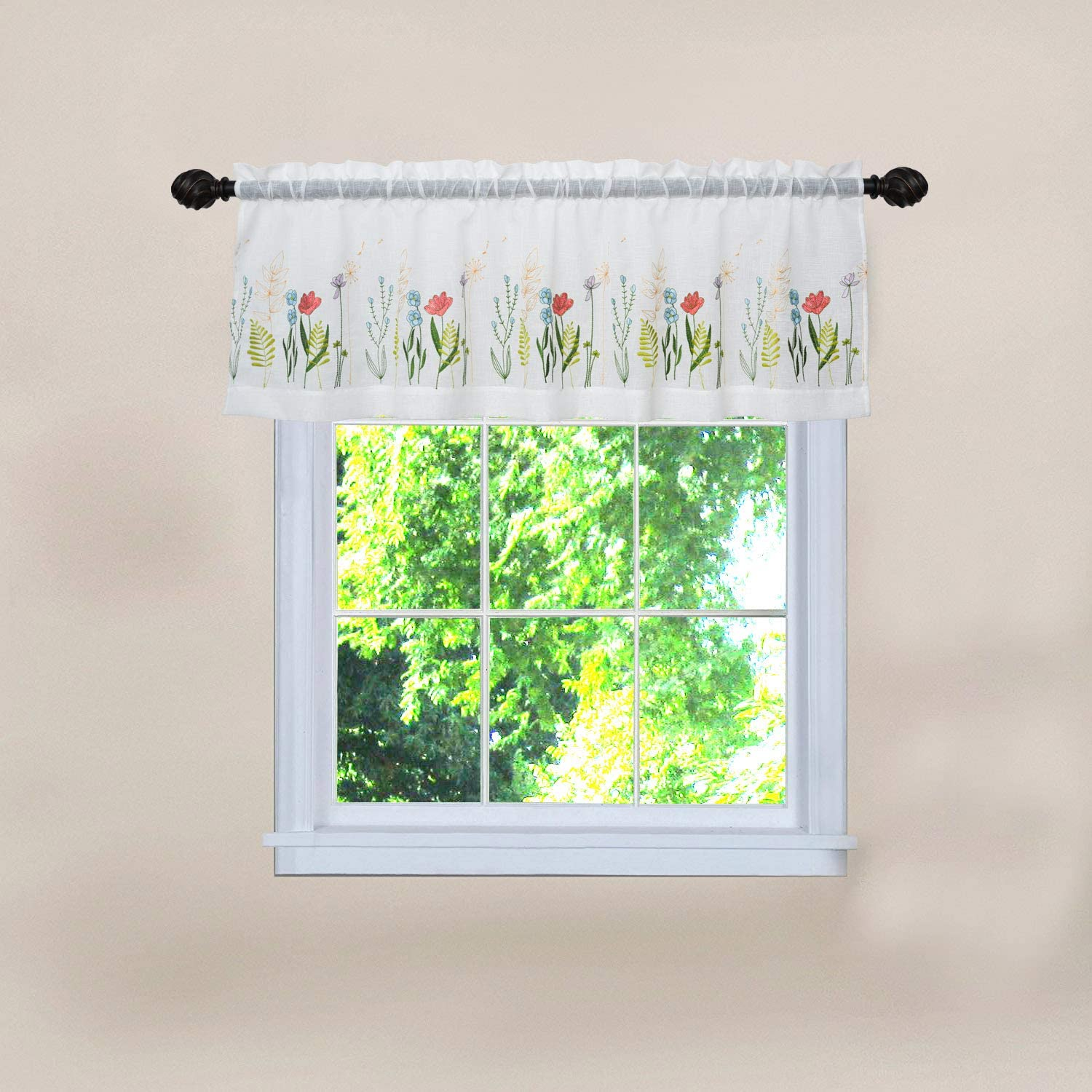 Creativesfun Pastoral Style Floral Valance Flower Country Yard Embroidery Sheer Lace Cafe Curtain Window Valance (Valance 丨W56 X L24-INCH, Flowers A)