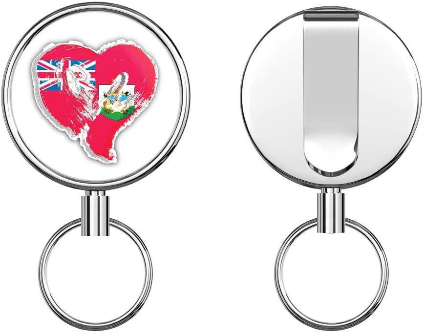 Bermuda Grunge Heart Flag Retractable Badge Holder Reel Metal ID Badge Holder with Belt Clip Key Ring for Name Card Keychain