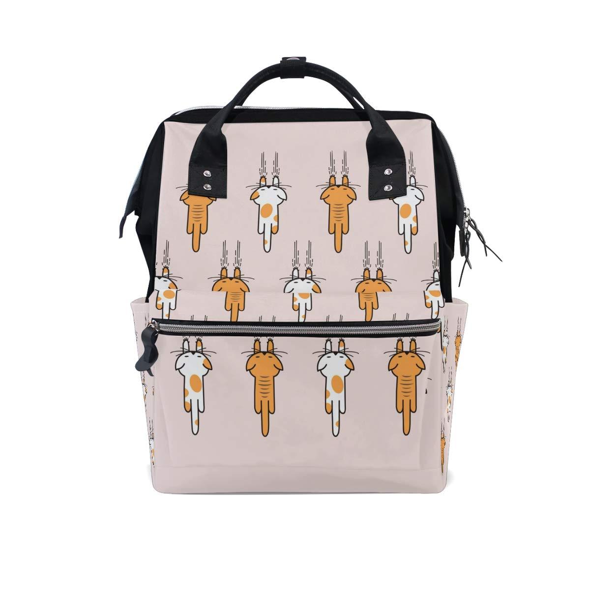 MERRYSUGAR Diaper Bag Backpack Cute Cats Kitten Animal Baby Bag School Backpack Mommy Bag Large Multifunction Travel Bag