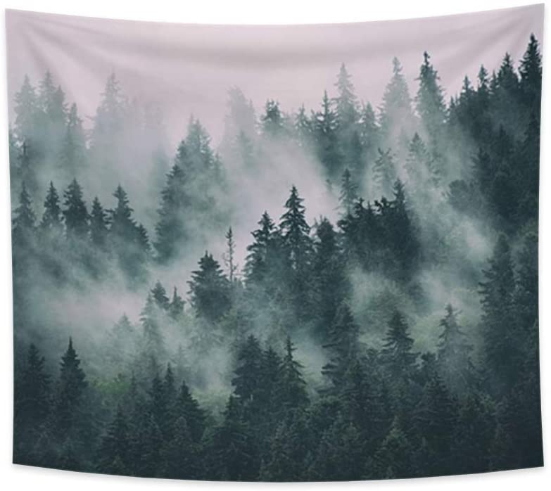OERJU 59.1x51.2 Inch Fir Forest Tapestry Evergreen Tree Leaves Mystery Nature Landscape Jungle Hipster Vintage Retro Style Foggy Wall Hanging College Dorm Decor Hall Bedroom Tablecloth