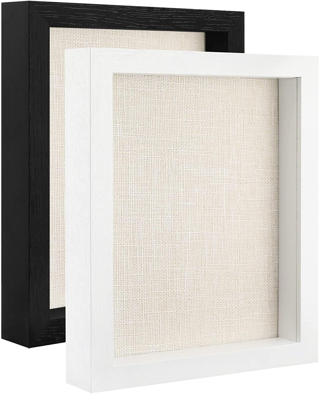 FRAME YI 8x10 Shadow Box Frames Set of 2 Wood Shadow Box Display Case (Black/White)