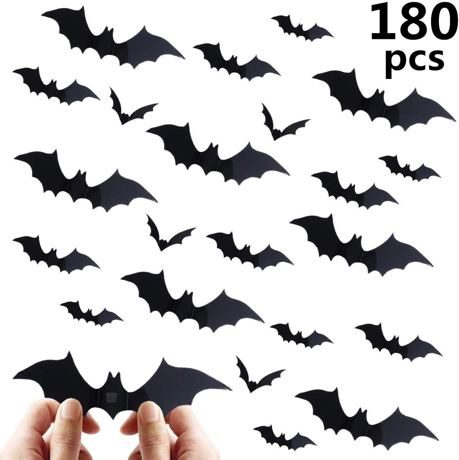 Beauthard Halloween Decorations Bat Wall Decals Stickers Decor 180 Pack, Extra Large 3D Bats Window Decals, Bat Halloween Door Décor