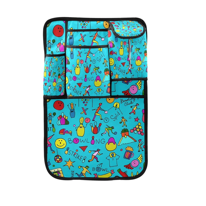 MNSRUU Car Backseat Organizer - 5 Storage Pockets Waterproof Kick Mat Seat Back Protector for Kids Travel Accessories, Graffiti Blue