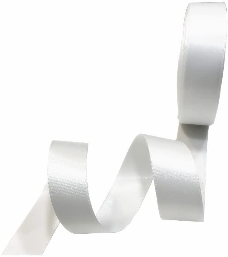3/8 Inch Wide Double Face Satin Ribbon No Fading Woven Ribbon - 25 Yard (112-White)