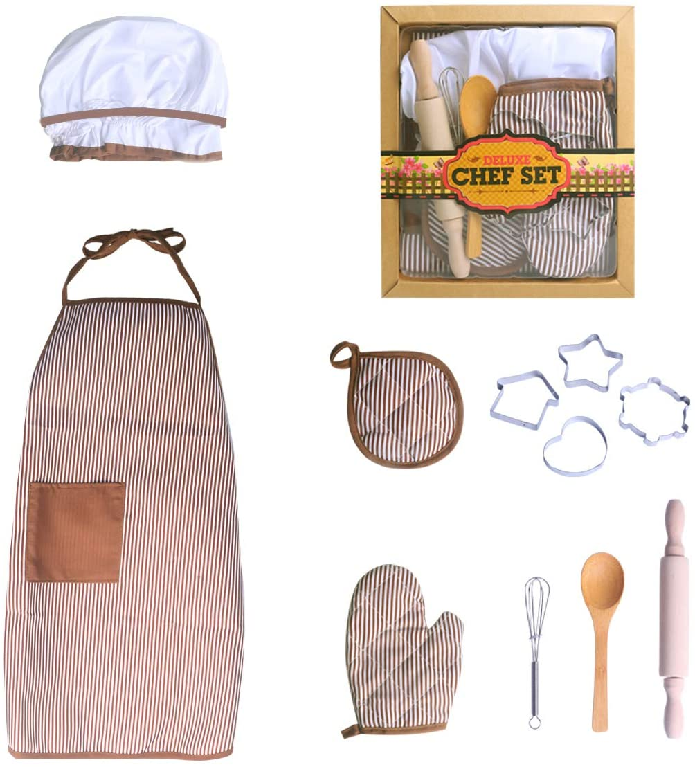 Ingooood Complete Children's Cooking and Baking Set, a Total of 11 Pieces, Including Aprons, Chef Hats, Gloves and Toddler Utensils. Chef Costumes for Kids 3 Years and Older. Professional Role Playing