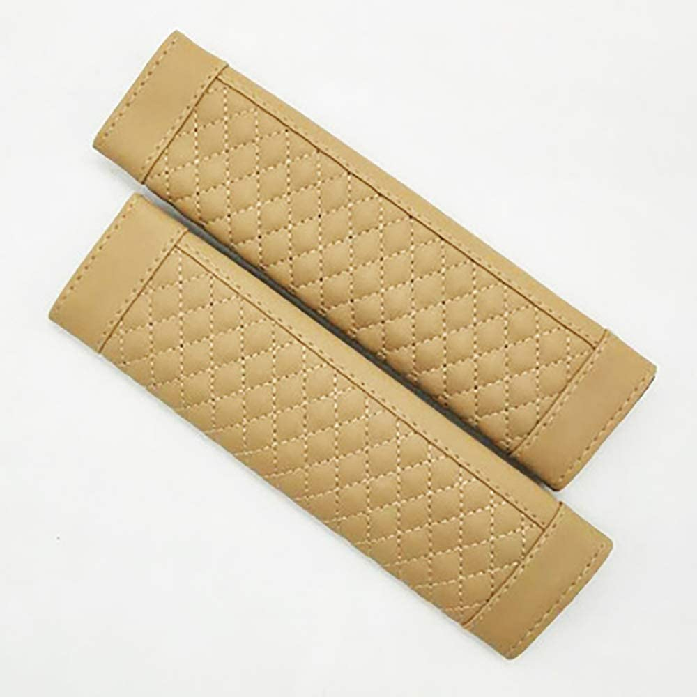 SQINAA Car Seat Soft Cover Seat Belt 2Pcs Shoulder Seatbelt Pads Cover, Safety Belt Strap Shoulder Pad for Adults,Beige
