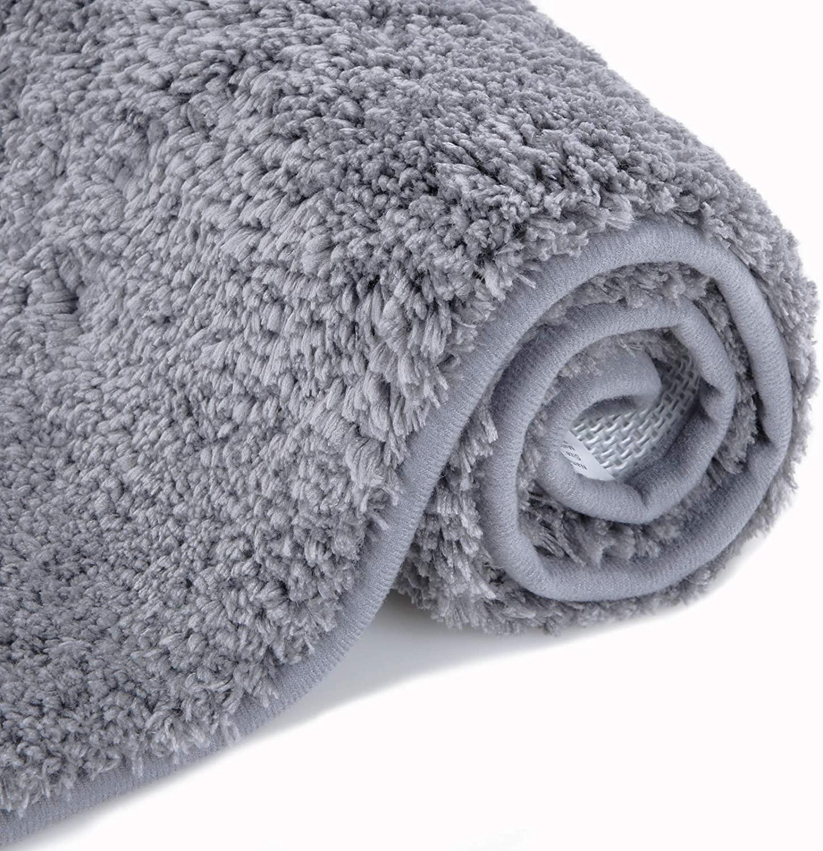 Bathroom Rug Non Slip Absorbent Shaggy Bath Mats (19.7 x 31.5, Dark Gray) Ultra Soft Thick Plush Microfiber Floor Covers Machine Washable Shower Room Rugs Cozy Fluffy Bath Carpet