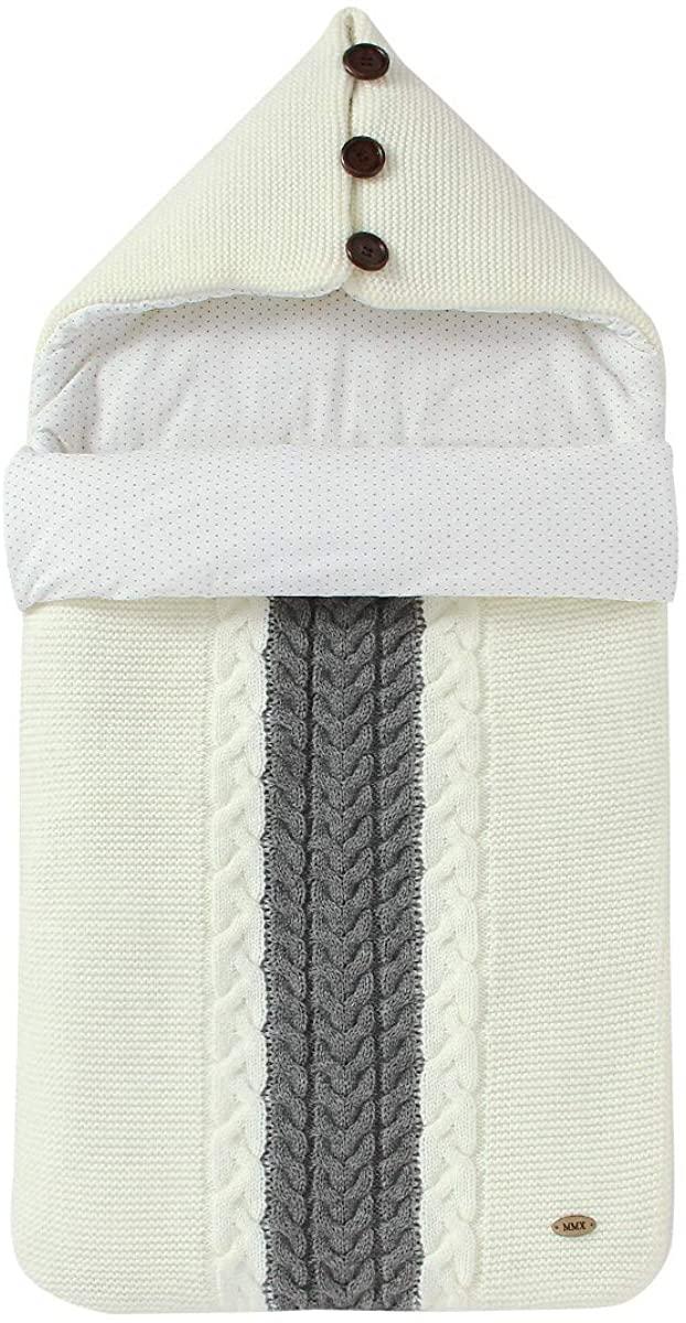 SunshineFace Newborn Sleep Sack, Infant Baby Hooded Knit Sleeping Bag Swaddle Blanket Stroller Wrap for 0-12 Months Babies