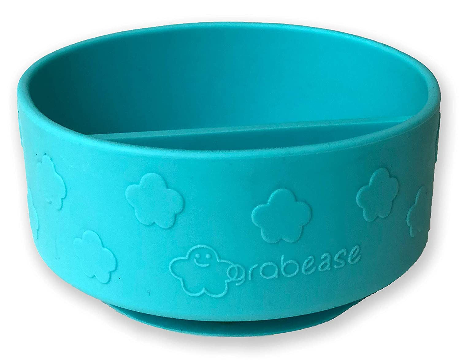 Grabease Divided Silicone Suction Bowl – Self-Feeding Toddler & Baby Bowl with 2 Sections, Easy-Scoop Walls – No Phthalates, PVC, or BPA – Dishwasher- & Sterilizer-Safe Baby Supplies & Gifts, Teal