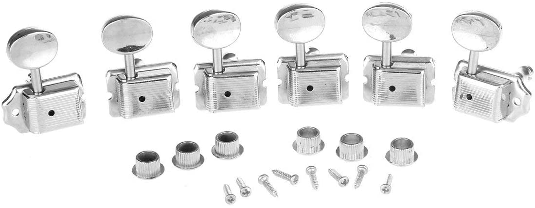 Musiclily 6-in-line Vintage Guitar Tuners Split Shaft Machine Head Tuning Keys Pegs for Fender Stratocaster Strat Telecaster, Nickel with Oval Button