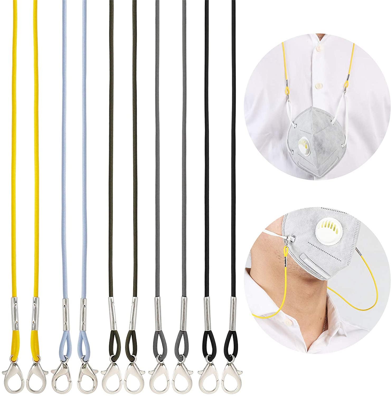 5 Pack Adjustable Length Face Mask Lanyard,MATOSAMIL Handy Safety Mask Holder Hanger Rest for Kids Women Men Senior Adults(Multicolor)