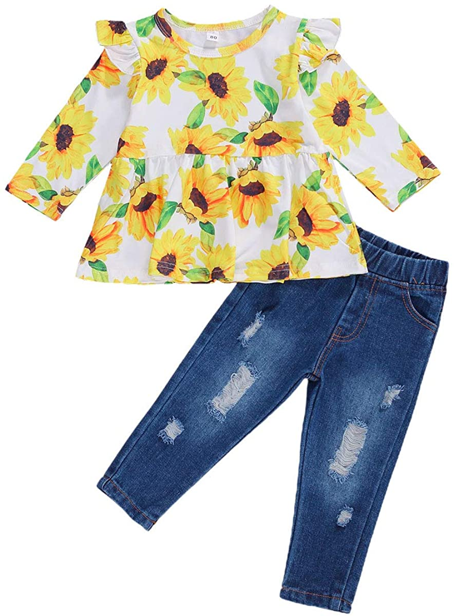 Toddler Baby Girl Outfits Ruffle Floral Long Sleeve T-Shirt Tops + Ripped Jeans Pants Fall Clothes Sets