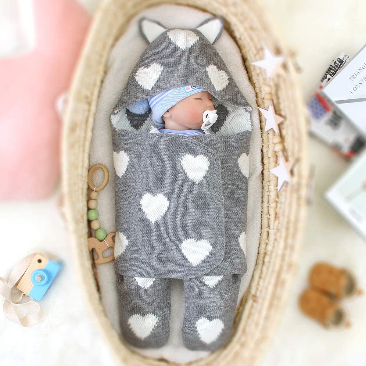 Haokaini Newborn Baby Blanket Knit Wrap Swaddle Blanket Sleeping Bag Stroller Wrap Multifunctional Baby Boy Girl Romper Blanket for Winter Autumn 0-6 Months (Grey)