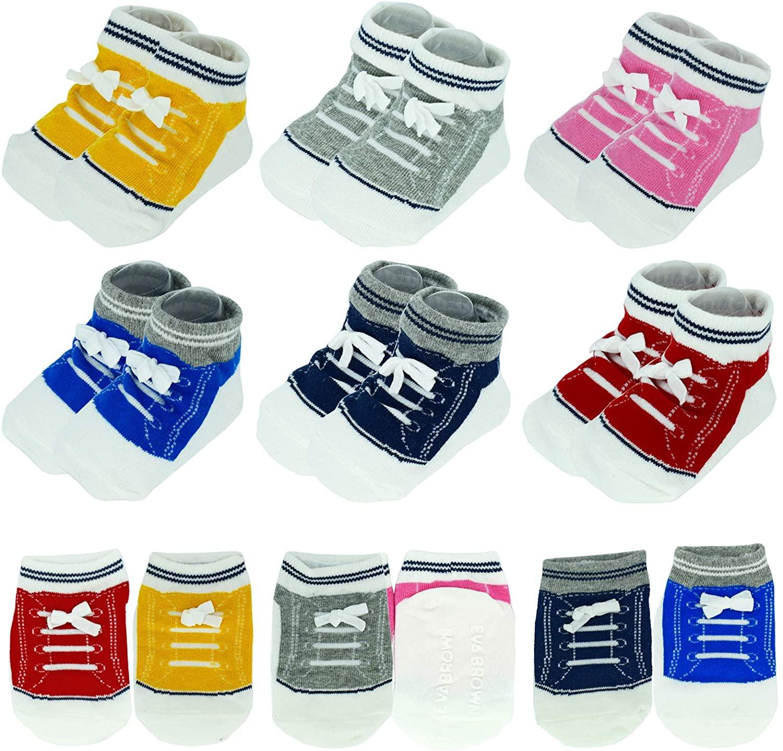 6 Pairs 6-12 month Baby Girls Boys Non-Slip Socks Sneaker Ankle Shoe Sock Non-Skid Gripper Socks
