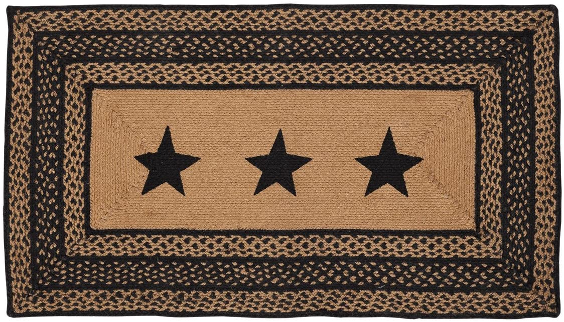 VHC Brands Classic Country Primitive Flooring - Farmhouse Jute Black Stenciled Stars Rug, 27x48,