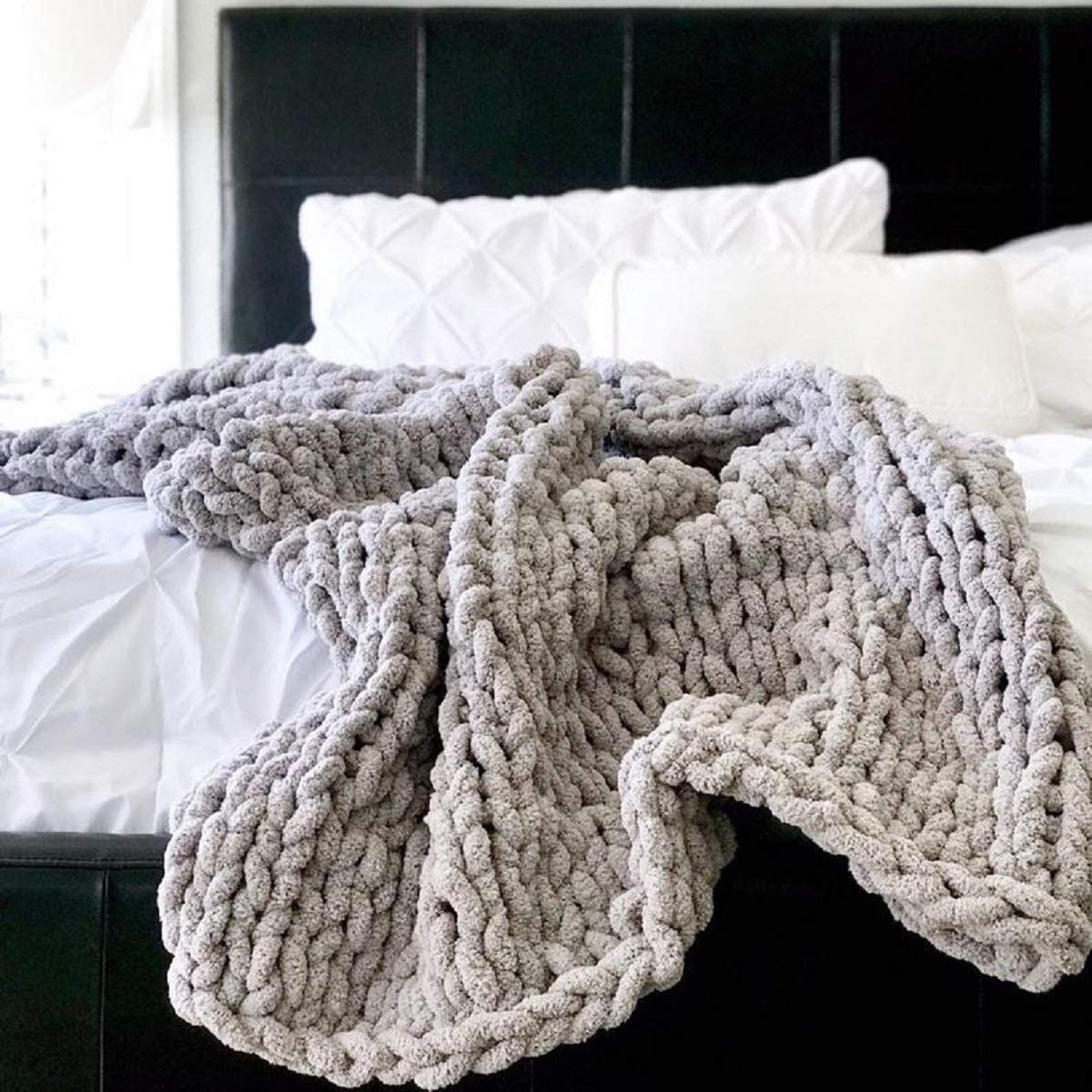 VIYEAR Knit Throw Jumbo Chenille Blanket for Cuddling up in Bed, Chunky Chenille Yarn Arm Knit Blanket on The Couch or Sofa Gray 79