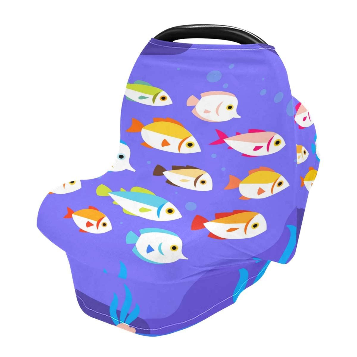 Nursing Cover Cute Colorful Fish Breastfeeding Soft Carseat Canopy Multi Use for Baby Car Seat Covers Canopy Shopping Cart Cover Scarf Light Blanket Stroller Cover