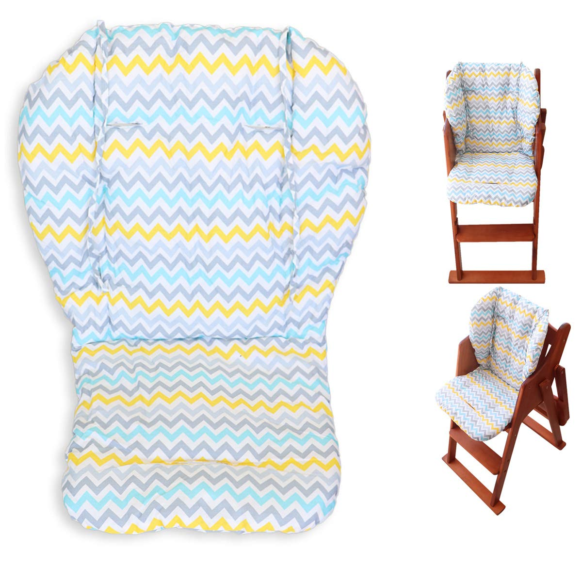 Twoworld High Chair Cushion, Large Thickening Baby High Chair Seat Cushion Liner Mat Pad Cover Breathable (Wavy Stripes)