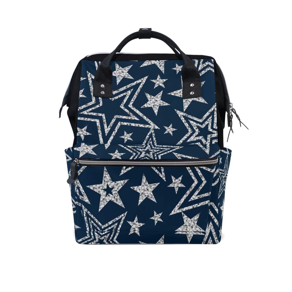 MERRYSUGAR Diaper Bag Backpack Vintage Stars Blue Baby Bag School Backpack Mommy Bag Large Multifunction Travel Bag