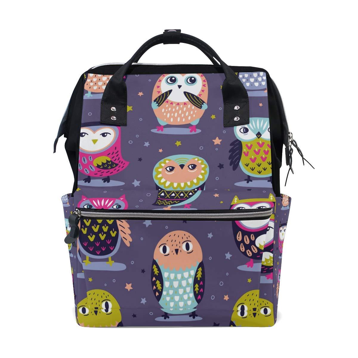 MERRYSUGAR Diaper Bag Backpack Cute Owl Star Multifunction Travel Bag