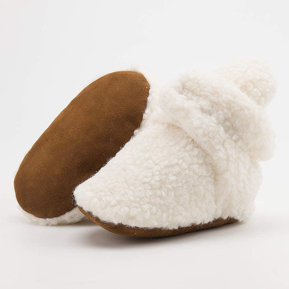BiBeGoi Baby Shoes for Infant Boys Girls Fleece Booties Soft Sole Non-Slip Cartoon Slippers Toddler Girl Baby Walking Crib Shoes
