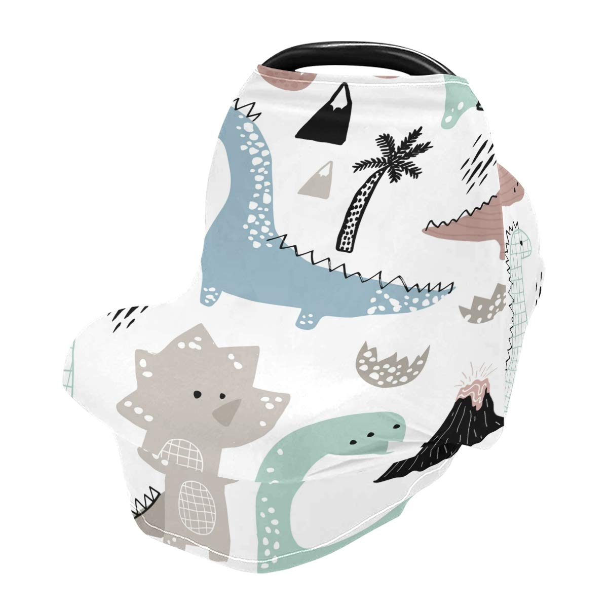 Nursing Cover Dinosaur Breastfeeding Soft Carseat Canopy Multi Use for Baby Car Seat Covers Canopy Shopping Cart Cover Scarf Light Blanket Stroller Cover