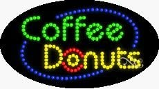 Coffee Donuts LED Sign - 15 x 27 x 1 inches - Made in USA