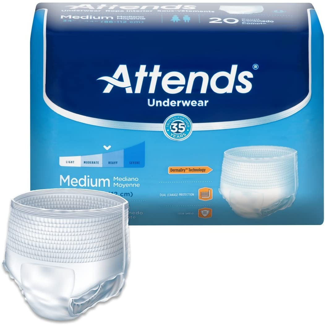 Attends Protective Underwear with DermaDry Technology for Adults Incontinence Care, Medium, Unisex, 20 Count (Pack of 4)