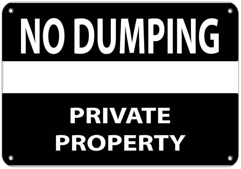 No Dumping Private Property Security Sign Label Vinyl Decal Sticker Kit OSHA Safety Label Compliance Signs 8