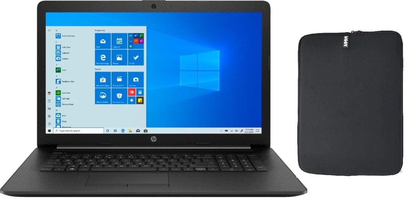 HP 17.3 HD+ Laptop Bundle with WOOV Sleeve, 10th Gen Intel Quad Core i5-1035G1 (Beat i7-7500U), 16GB RAM, 256GB PCIe SSD Boot + 1TB HDD, DVD-RW, Card Reader, WiFi, HDMI, Windows 10 Home, Jet Black