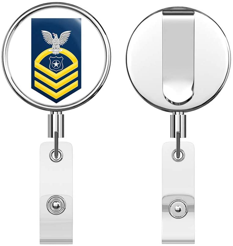 US Navy Chief Gold E-7 Master at Arms MA Round ID Badge Key Card Tag Holder Badge Retractable Reel Badge Holder with Belt Clip