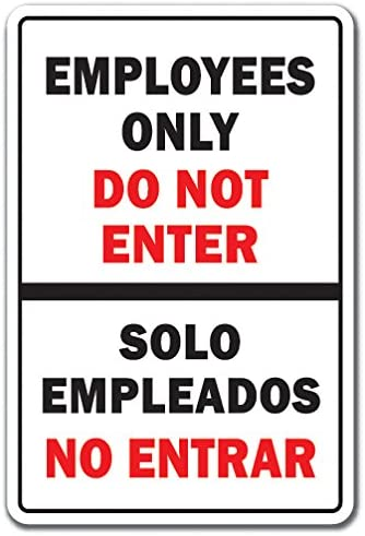 SignMission Employees ONLY Decal Spanish Entrance Building | Indoor/Outdoor | 9