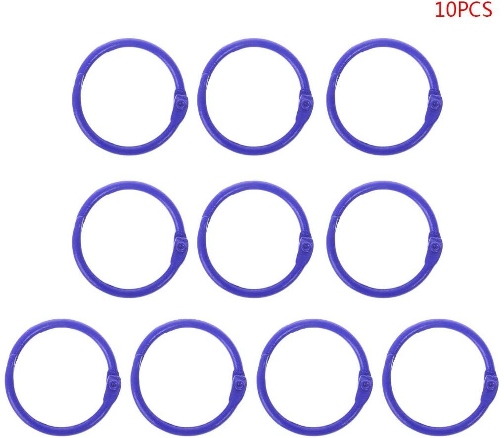 Wuliuen 10Pieces Metal Loose Leaf Binder Ring Book Hoops DIY Albums School Office Supplies Craft Metal Binder Ring Blue