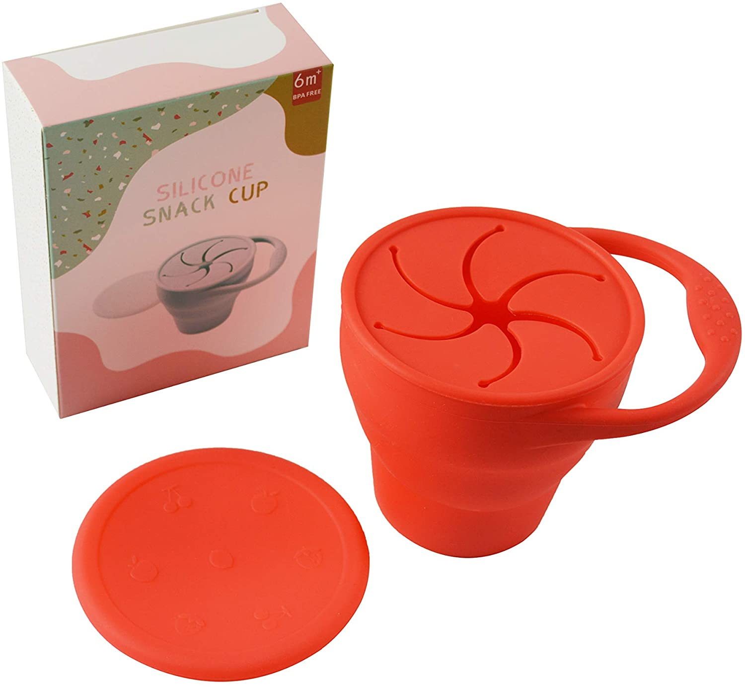 Snack Cup Collapsible Spill Proof Silicone Snack Container (Red)