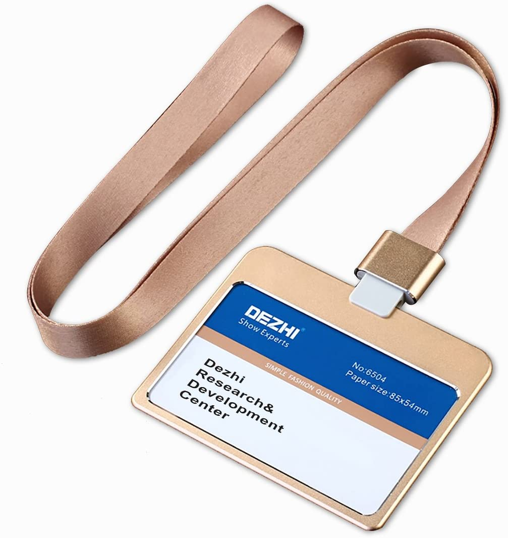 Fashion Horizontal Business Credit Card Badge Holder Metal ID Card Holders with Colorful Lanyard(Gold)